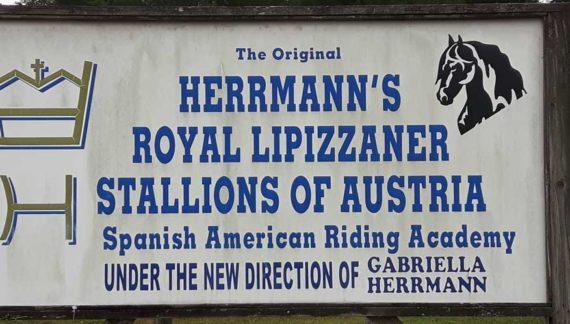 Welcome sign at the Lipizzan Stallion ranch at Myakka City, near Sebring Florida.